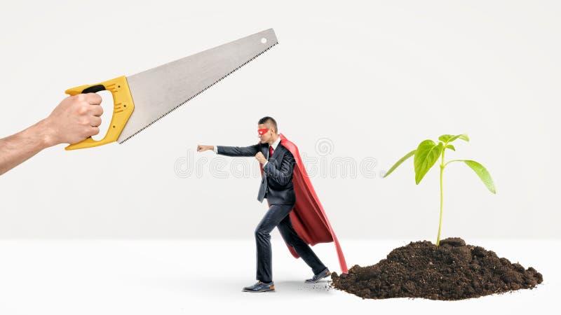 Un uomo d'affari minuscolo in un capo rosso che combatte fuori una mano gigante con una sega mentre dietro lui una nuova pianta s immagini stock libere da diritti