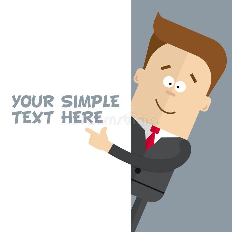 Un uomo d'affari o un responsabile di un primo piano mostra al manifesto dove potete disporre il vostro testo illustrazione di stock