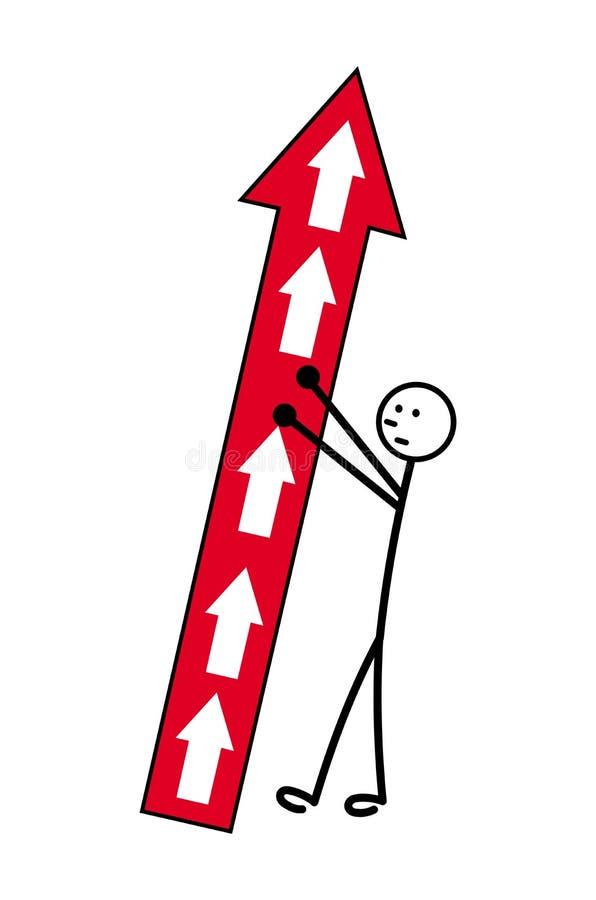 Un uomo del fumetto sostiene una freccia di caduta che indica verso l'alto Problemi di crescita Vettore illustrazione di stock
