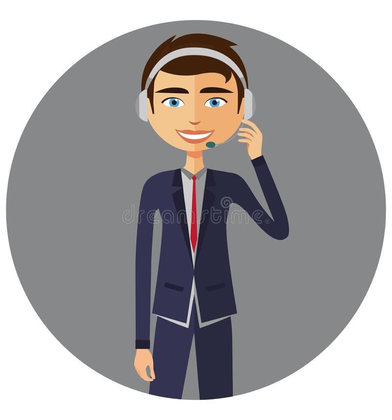 Un uomo dell'operatore con servizio del servizio d'assistenza di servizio di assistenza al cliente della cuffia avricolare royalty illustrazione gratis