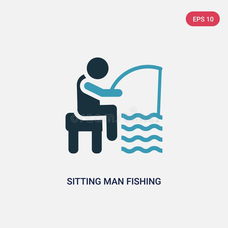 Un uomo di seduta di due colori che pesca l'icona di vettore dal concetto della gente l'uomo di seduta blu isolato che pesca il s illustrazione vettoriale