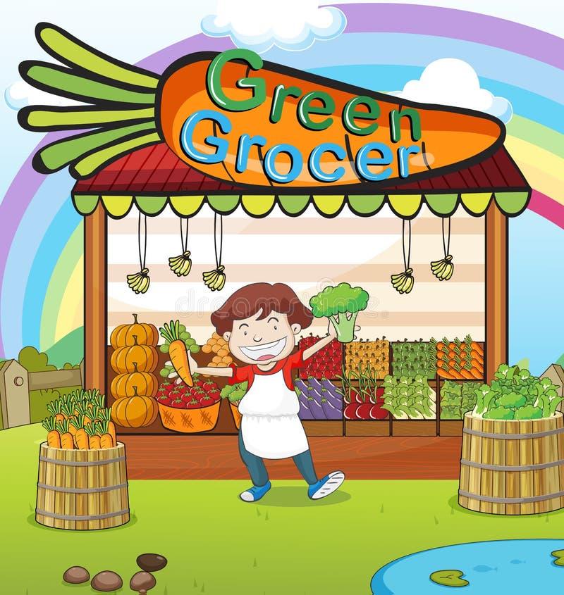Un uomo e un negozio di verdure illustrazione vettoriale
