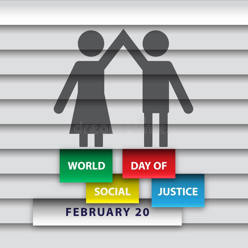 Un uomo e una condizione e una tenuta della donna passano insieme il giorno del mondo di giustizia sociale royalty illustrazione gratis