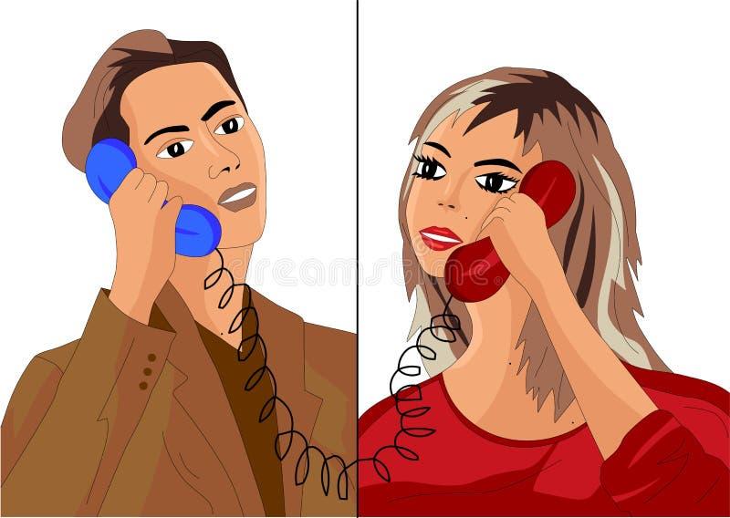 Un uomo e una ragazza che parlano sul telefono illustrazione di stock