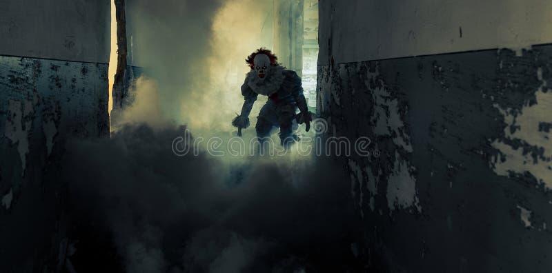 Un uomo a immagine di un clown cammina nel vecchio edificio tra il fumo fotografie stock libere da diritti
