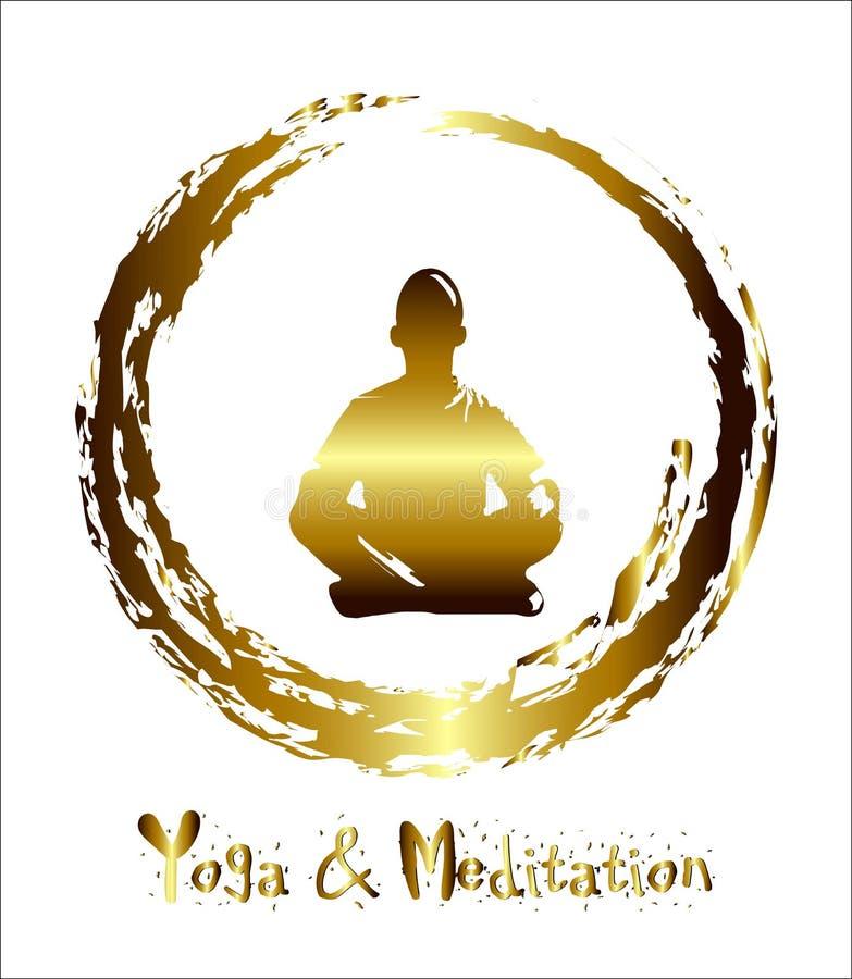 Un uomo medita il fondo astratto dell'oro, yoga raggio fascio Meditazione buddista, meditazione indù Vettore illustrazione vettoriale