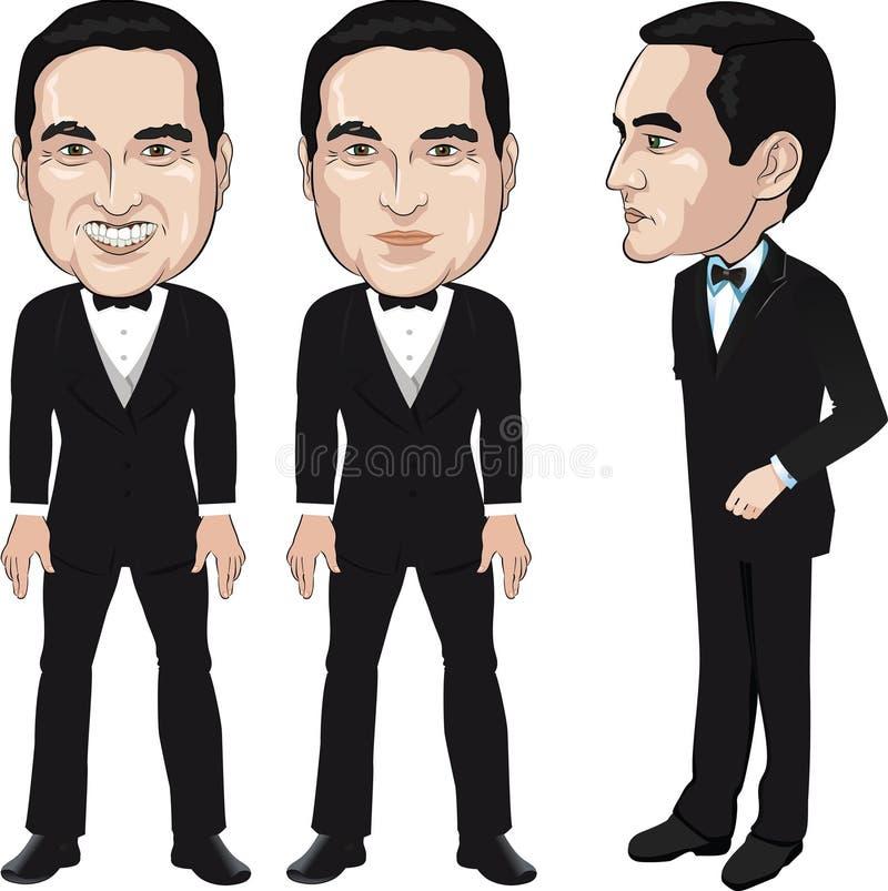 Un uomo nel carattere nei clotes convenzionali, bambola pronta di vettore di animazione, clotes convenzionali dello smoking, con  fotografie stock
