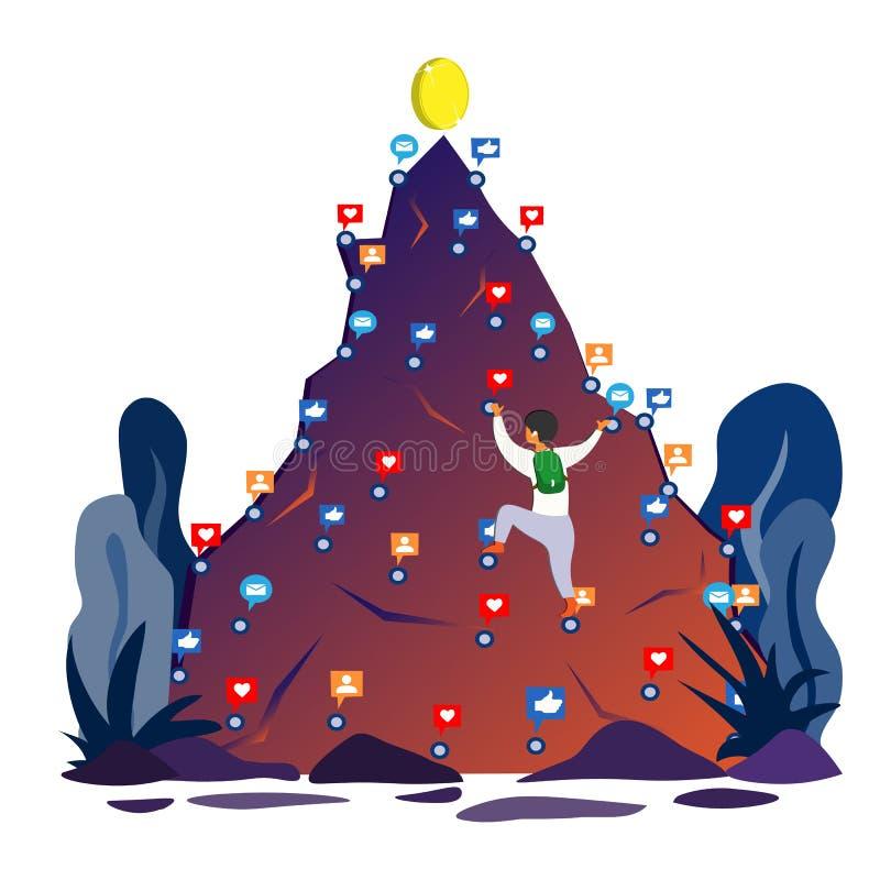 Un uomo scala il instagram della montagna che conta sui simili, le poste, osservazioni che tendono alla cima di successo Illustra royalty illustrazione gratis