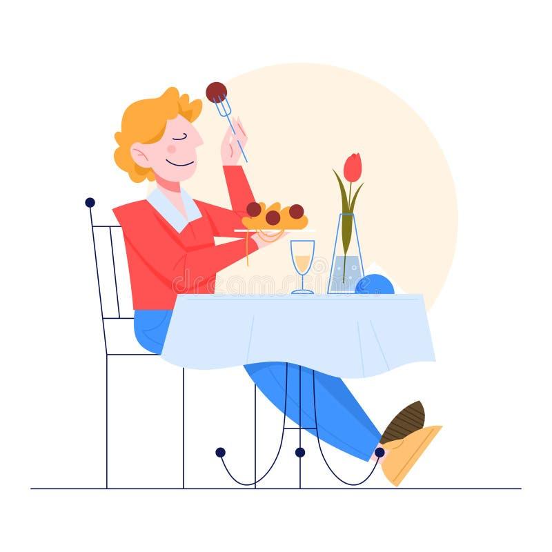Un Uomo Seduto In Un Ristorante E Con Cibo Italiano Illustrazione Vettoriale Illustrazione Di Ristorante Pasto 166270791