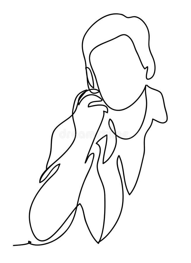 Un uomo sta parlando sul telefono Disegno a tratteggio continuo Isolato sui precedenti bianchi Monocromio di vettore, disegnante  royalty illustrazione gratis