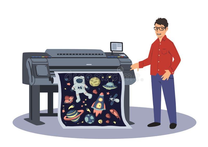 Un uomo stampa su un tracciatore di gran-formato Lavoratore di stampa Illustrazione di vettore isolata su priorità bassa bianca royalty illustrazione gratis