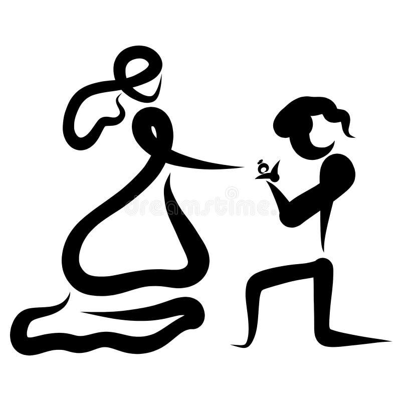Un uomo sulle sue ginocchia dà ad una donna una fede nuziale in un contenitore di gioielli illustrazione di stock