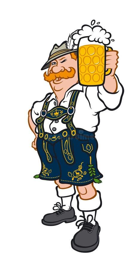 Un uomo tedesco in un costume bavarese nazionale Illustrazione di vettore in uno stile piano L'immagine è isolata su fondo bianco royalty illustrazione gratis