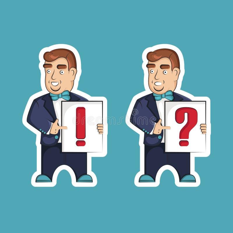 Un uomo tiene una carta con un punto interrogativo e un punto esclamativo immagine stock