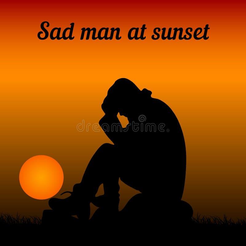 Un uomo triste si siede su una pietra, tiene le sue mani dietro la sua testa, un si illustrazione di stock