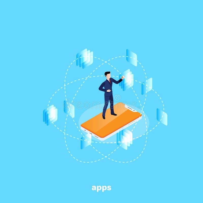 Un uomo in un vestito sta sullo schermo dello smartphone e lavora con le finestre a finestra dell'applicazione royalty illustrazione gratis