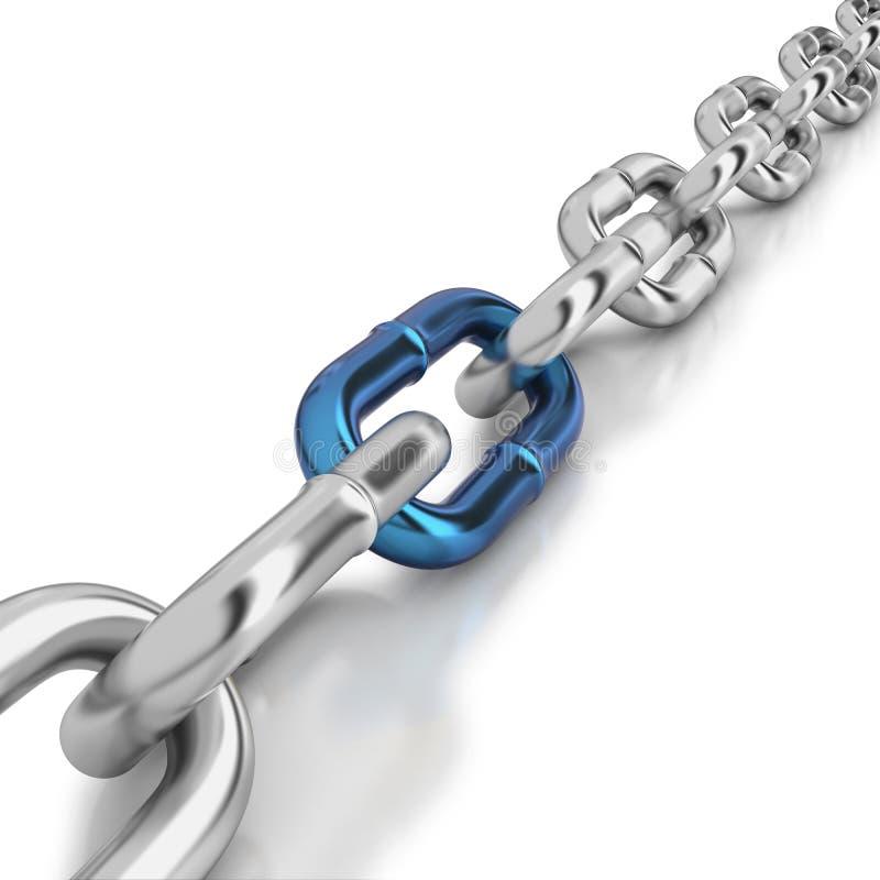 Un vínculo azul en una cadena del cromo ilustración del vector