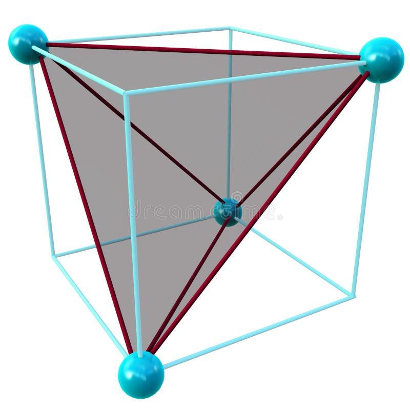 Un vacío tetraédrico que muestra la geometría ilustración del vector