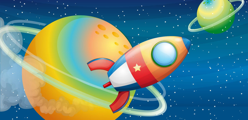 Un vaisseau spatial dans l'espace extra-atmosphérique illustration de vecteur