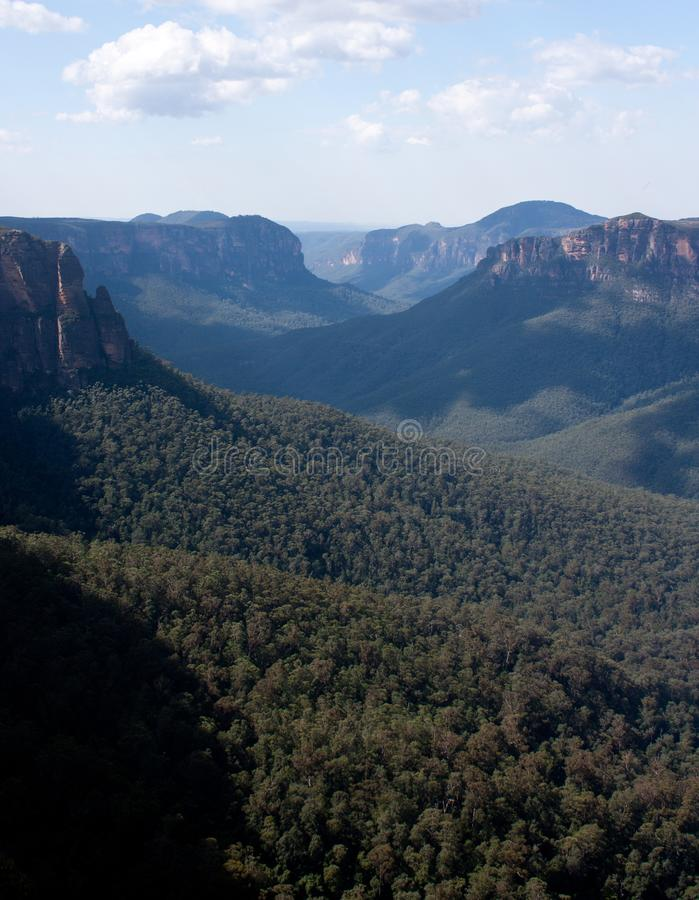 Un valle visto del Evan' puesto de observación de s en las montañas azules fotografía de archivo libre de regalías