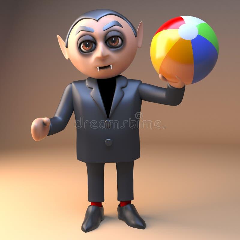Un vampiro juguetón Drácula en 3d en el humor del día de fiesta que sostiene una pelota de playa, ejemplo 3d ilustración del vector