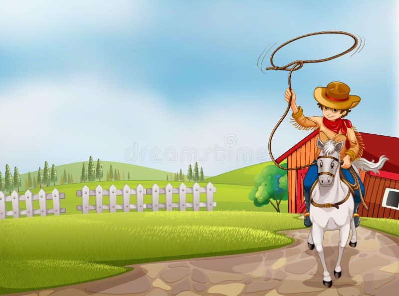 Un vaquero que lleva a cabo un montar a caballo de la cuerda en un caballo libre illustration