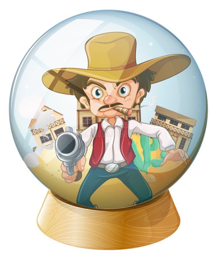 Un vaquero que sostiene un arma dentro de la bola de cristal stock de ilustración
