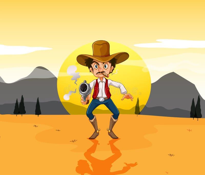 Un vaquero que sostiene un arma en el medio del desierto stock de ilustración