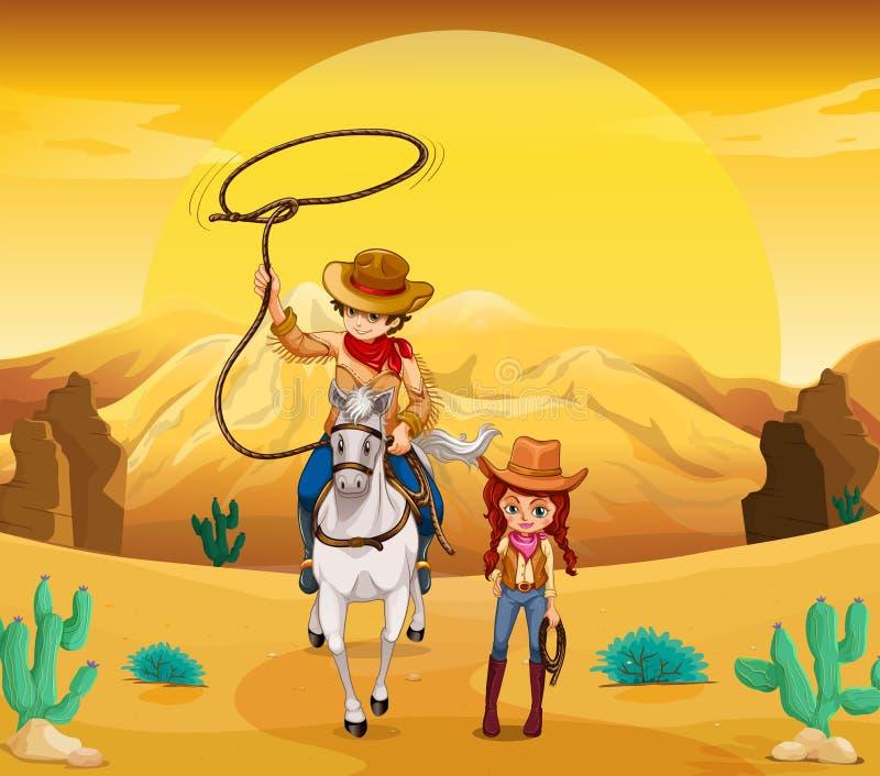 Un vaquero y una vaquera en el desierto libre illustration