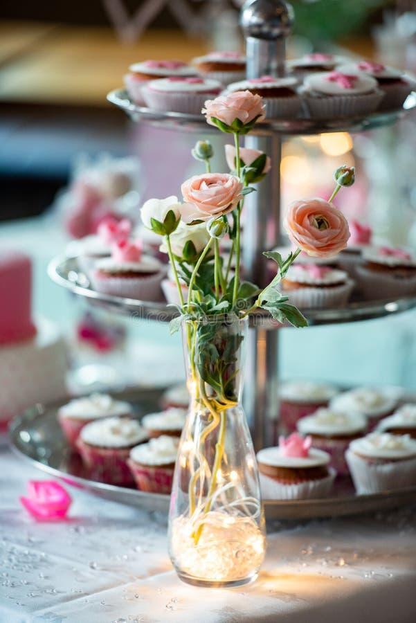 Un vaso delle rose e delle luci rosa immagini stock libere da diritti