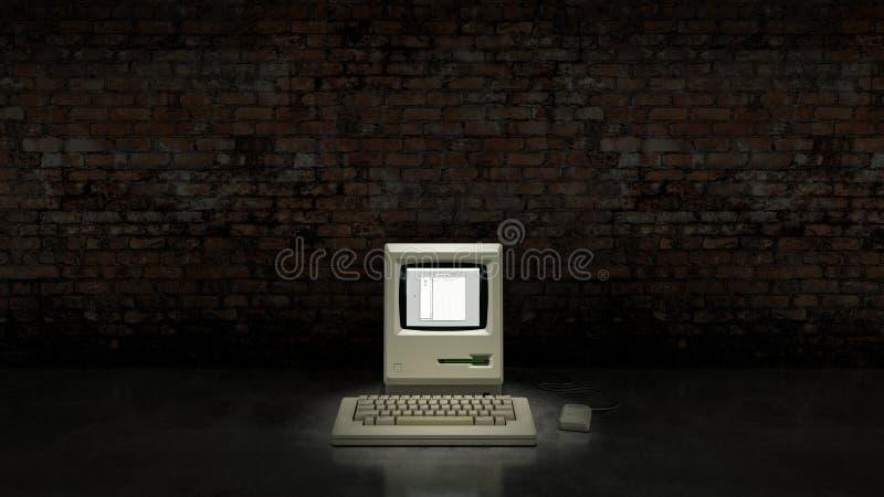 Un vecchio computer obsoleto d'annata royalty illustrazione gratis