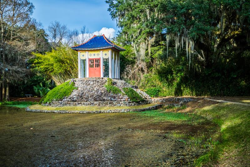 Un vecchio santuario di Buddha dentro in Avery Island, Luisiana fotografia stock libera da diritti