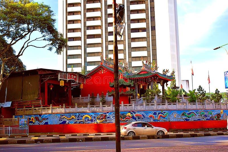 Un vecchio tempio cinese nel cuore della citt? Kuching, Sarawak immagine stock libera da diritti