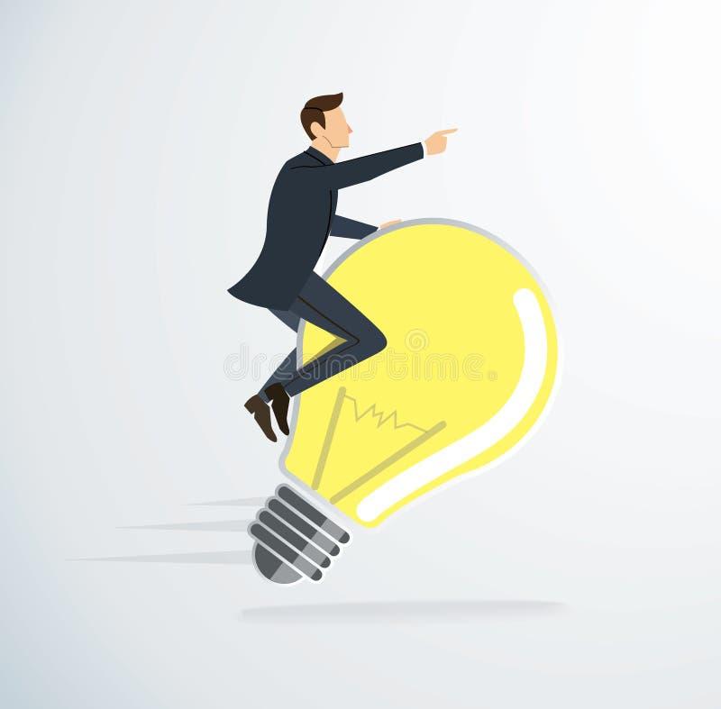 Un vecteur d'icône d'ampoule d'équitation d'homme Concept de penser symbole créateur illustration libre de droits
