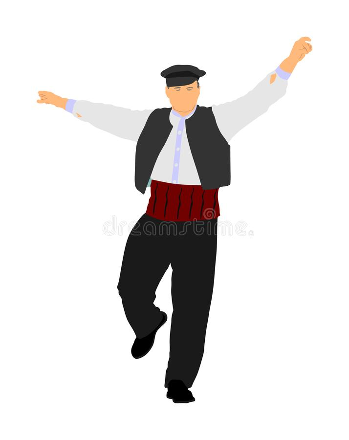 Un vecteur grec de danse d'Evzone d'isolement sur le fond blanc gens de danse traditionnels Illustration de danse d'homme supérie illustration stock