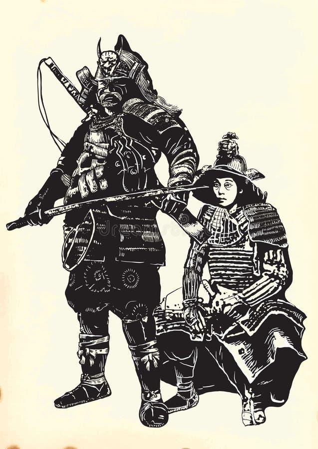 Un vecteur tiré par la main de culture du Japon - samouraïs, shogouns illustration stock