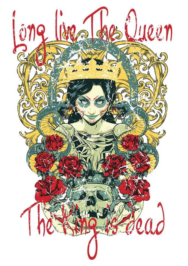 Vive de largo la reina stock de ilustración