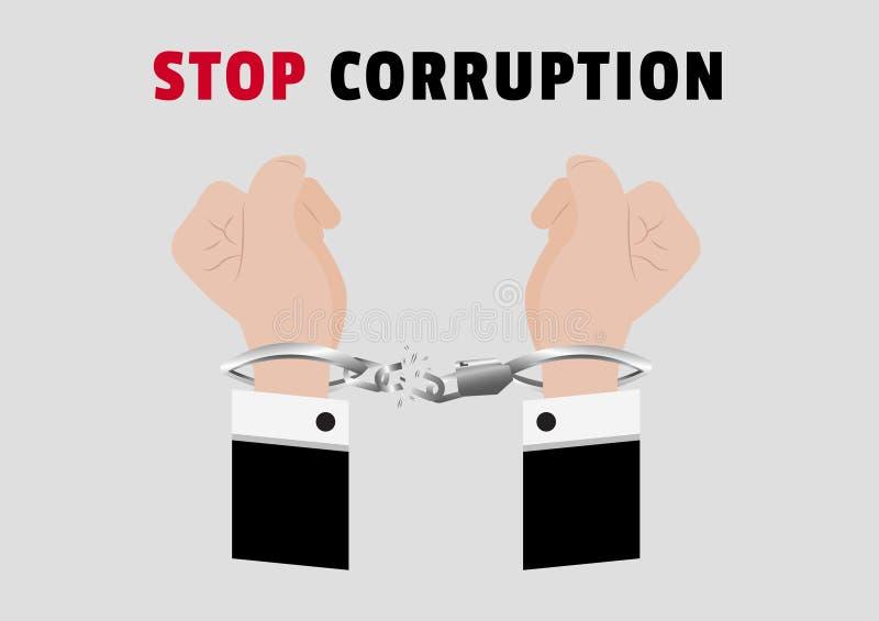 Un vector de la campaña de la corrupción de la parada con las manos del hombre de negocios arrestó control poniendo las esposas d stock de ilustración