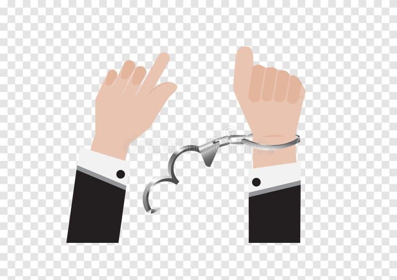Un vector de la mano de la libertad de la esclavitud de la esposas del preso o del hombre de negocios en traje trasero y del cont libre illustration