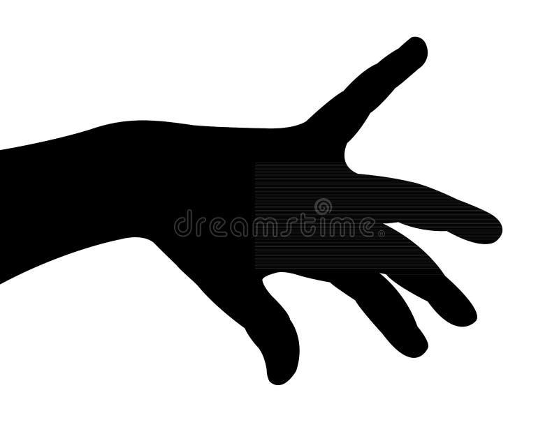 Un vector de la silueta de la mano stock de ilustración