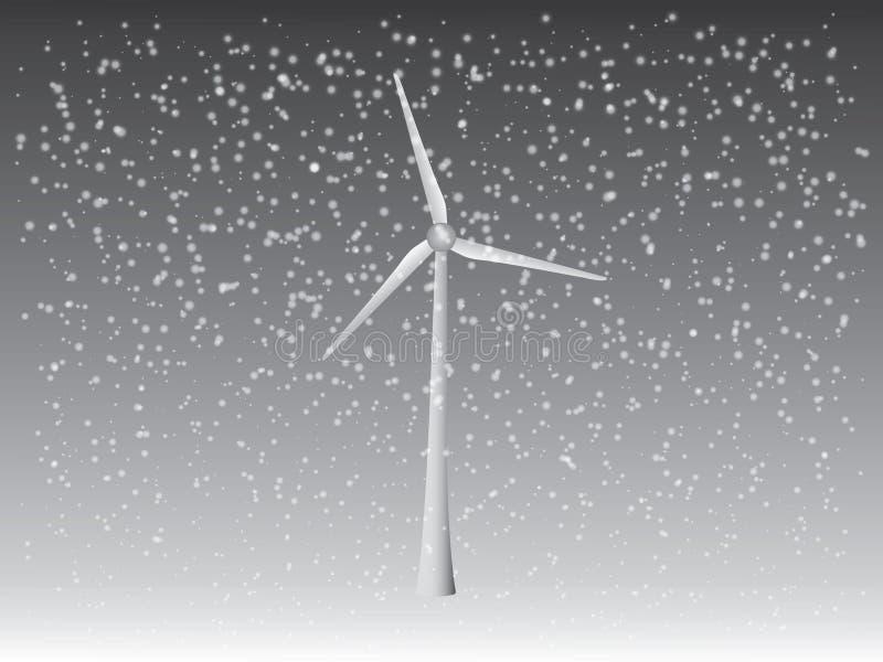 Un vector de la turbina del aire fresco para generar electricidad con las nevadas en el tiempo del invierno para la industria de  ilustración del vector