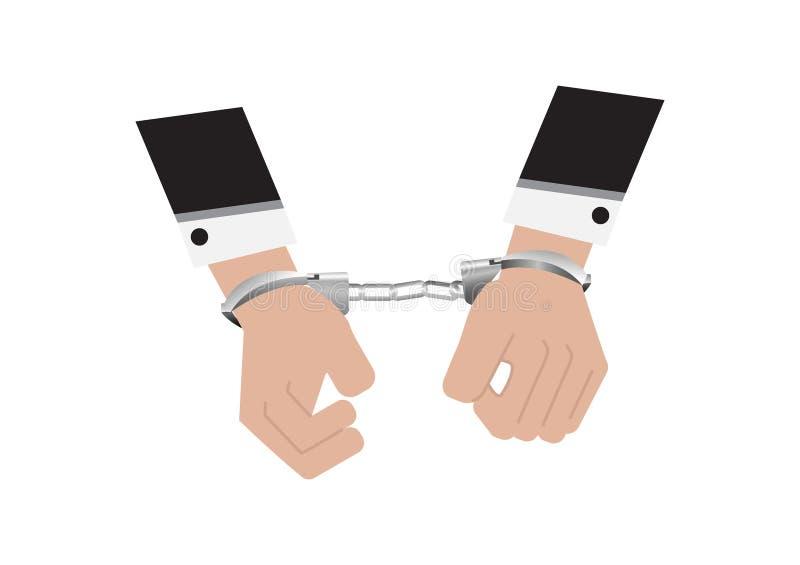 Un vector de manos del hombre de negocios en traje trasero arrest? control poniendo las esposas de plata aisladas en el fondo bla ilustración del vector