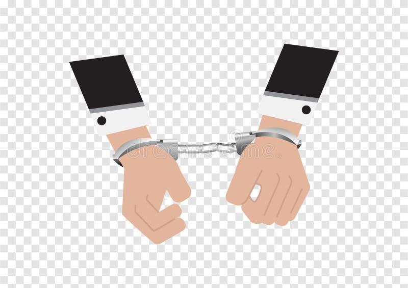 Un vector de manos del hombre de negocios en traje trasero arrestó control poniendo las esposas de plata aisladas en el fondo de  libre illustration