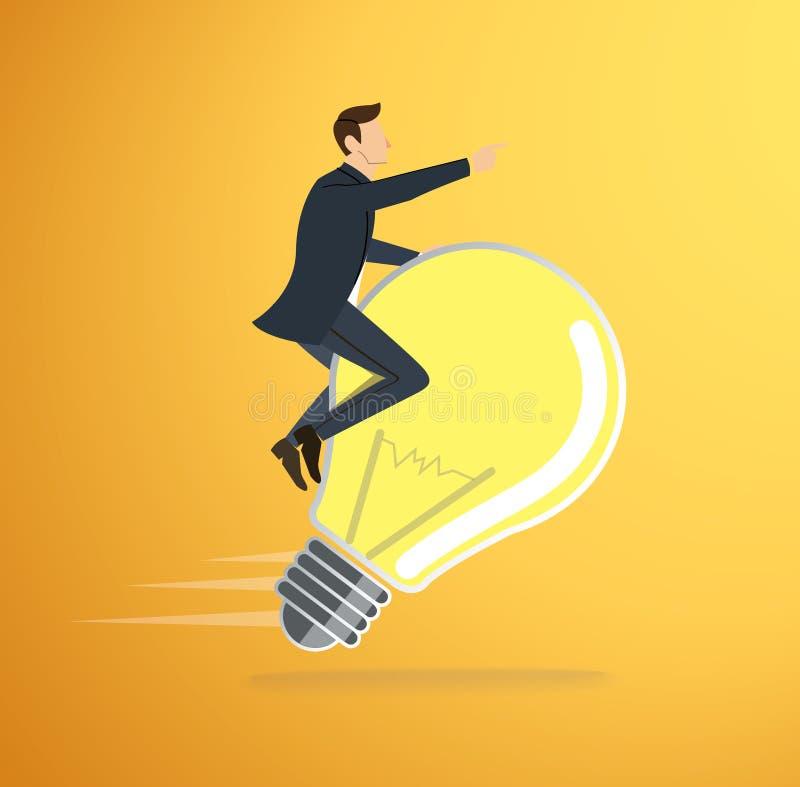 Un vector del icono de la bombilla de montar a caballo del hombre Concepto de pensamiento Símbolo creativo stock de ilustración