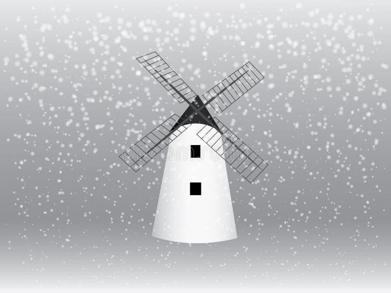 Un vector tradicional fresco de la casa del molino de viento con los copos de nieve en la estación del invierno para moler el eje libre illustration
