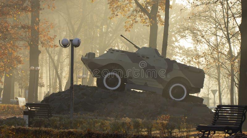 Un vehículo de lucha de la infantería, un monumento, se coloca en un pedestal, en un parque público Simboliza a los soldados sovi foto de archivo libre de regalías