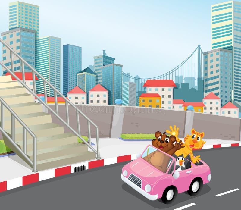 Un vehículo rosado con los animales que corren en la ciudad stock de ilustración
