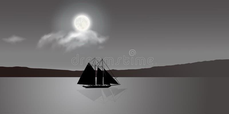 Un velero bajo claro de luna stock de ilustración