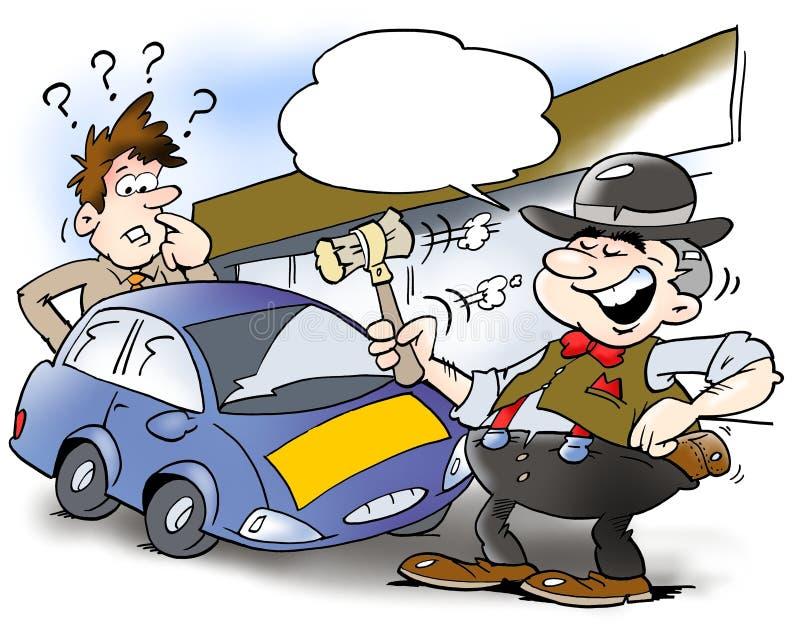Un vendedor de coches elegante y un cliente libre illustration