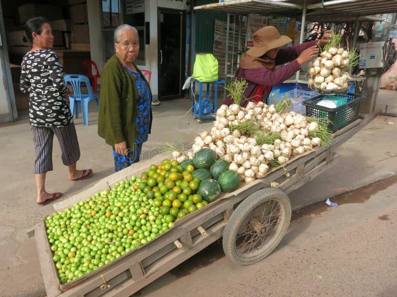 Un vendeur de fruit avec des jujubes, des pastèques, des mandarines et des navets doux sur la rue de la capitale laotienne photographie stock libre de droits